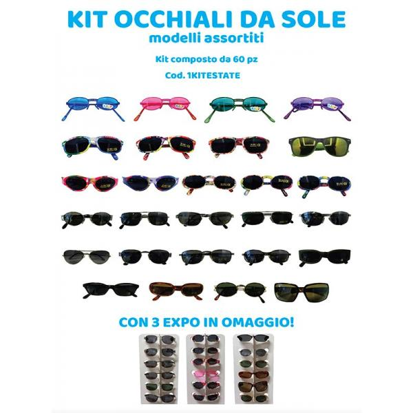 KIT 60 OCCH.SOLE ASS.TI(UOMO/DONNA/KID) + 3 EXPO DA BANCO
