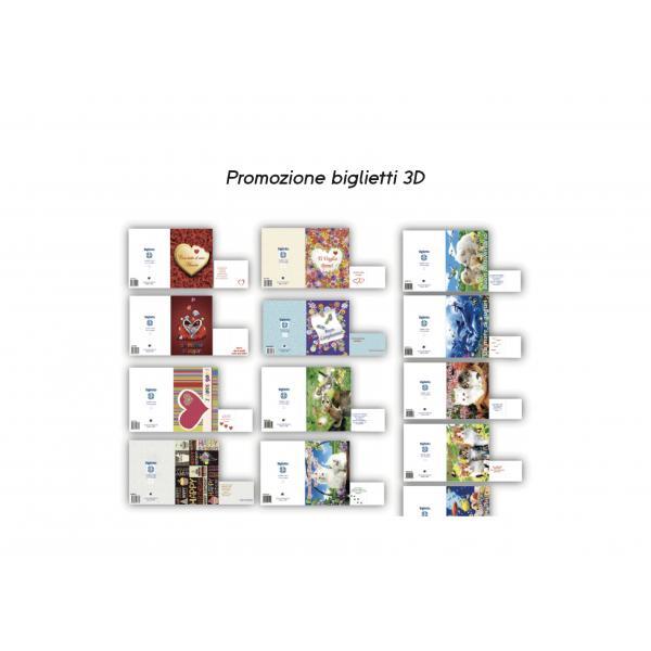 KIT 200 BIGLIETTI AUGURI 3D ASSORTITI (NO EXPO) COMPOSTO DA: